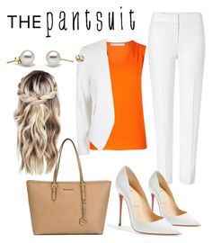 """""""White pantsuit + coral"""" by stylishdirectioner on Polyvore featuring ESCADA, MICHAEL Michael Kors, Christian Louboutin, Diane Von Furstenberg, River Island, coral, pearls and thepantsuit"""