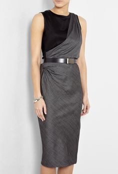 Cosetta Microcheck Toga Belted Dress by Sportmax