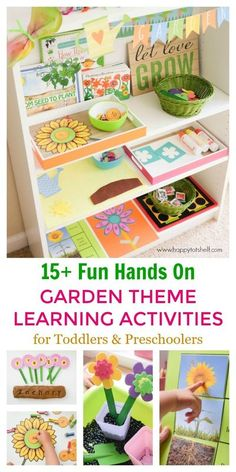 Garden Theme activities for preschoolers and toddlers. Garden theme Montessori shelf. Perfect for Spring theme too. #happytotshelf #montessorishelf #gardentheme #homeschool #handsonlearning #spring #preschoolers #toddlers Preschool Learning Activities, Spring Activities, Fun Learning, Preschool Activities, Time Activities, Outdoor Activities, Preschool Themes By Month, Preschool Garden, Preschool Crafts