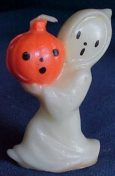 Vintage Halloween Gurley Candle ~ Ghost w/ Jack O' Lantern * Circa, 1940's