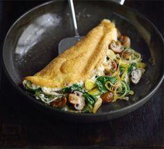 Leek, mushroom, spinach souffle omelet Recipe by via Entree Recipes, Egg Recipes, Brunch Recipes, Cooking Recipes, Brunch Ideas, Bbc Good Food Recipes, Yummy Food, Healthy Recipes, Vegetarian Recipes