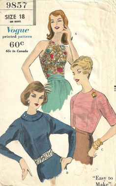 VOGUE 9857 (1959) makes a selection of blouses with raglan sleeves.