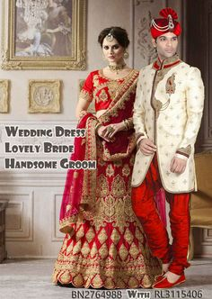 Bridal Lehenga Choli, Sherwani, Stone Work, Festival Wear, Groom, Handsome, Sari, Bride, Female