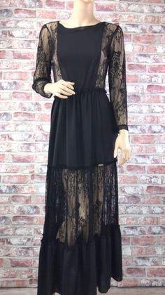 Čierne šaty kombinované s priehľadnou čipkou Dresses With Sleeves, Long Sleeve, Fashion, Moda, Sleeve Dresses, Long Dress Patterns, Fashion Styles, Gowns With Sleeves, Fashion Illustrations