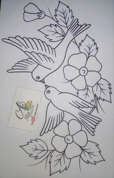 Chore Girls for Days-of-the-week Tea Towels Hot Iron Embroidery Transfers Bird Embroidery, Embroidery Transfers, Embroidery Patterns Free, Hand Embroidery Designs, Embroidery Stitches, Learn Embroidery, Art Drawings Sketches Simple, Bird Drawings, Painting Patterns
