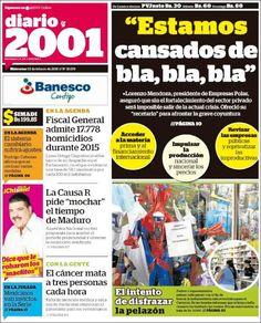 #20160203 #LATINOAMERICA #VENEZUELA #CARACAS #2001diarioCARACAS Miércoles 3 FEB 2016 http://en.kiosko.net/ve/2016-02-03/np/ve_2001.html