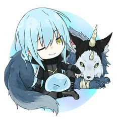 Tensei Shitara Slime Datta Ken Rimuru & Ranga Sticker by kistukai Chibi, Kawaii, Animation, Anime Fan, Art, Cartoon, Anime Characters, Manga, Anime Chibi