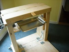Portable JewelryBench! - note the wheels, sturdy smart construction, simple, with fold out floor door. All can be built on a budget. #jewelrymaking