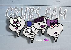 FLIEDA, GELDORF, MOSCH & TILDA are part of the Grubs Family and some of the bitten ones...  #characterdesig #comicart #illustration Grubs, Octopus, Comic Art, Character Design, Illustration, Pink, Illustrations, Calamari, Pink Hair