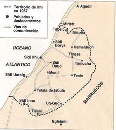 TERRITORIO DE IFNI EN 1957 Tangier, Knights, Colonial, Madrid, Wordpress, Random, Maps, War, Morocco