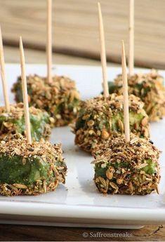 Spice crusted paneer tikka in green sauce