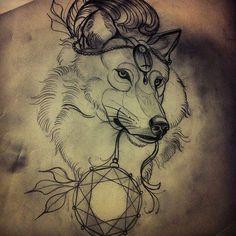 #wolf tattoo sketch http://tattoo-ideas.us