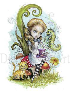 Alice in Wonderland Art  Children book by DianaLevinArt on Etsy