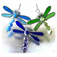 Dragonfly Trio Stained Glass Suncatcher Bead-Tailed - The British Craft House Flying Together, Craft House, Eye Make, Suncatchers, Home Crafts, Different Colors, Stained Glass, Turquoise Necklace, British