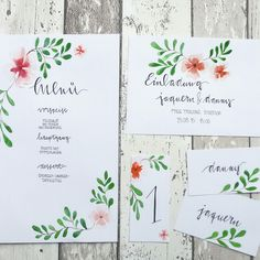My wedding stationary #illustration, #watercolor, #weddingstationary, #savethedate, #menucard, #placecard, #wedding, #weddinginspiration