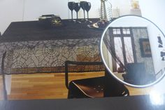 "Halloween Lace Tablecloth 60"" X 84"" Oblong Black Spider Webs Spiders Door Decor #Target"