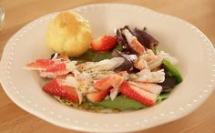 A wonderful creation of King Crab and Strawberries. Really the perfect pairing for a lunch time salad!