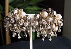 Dainty Wedding Prom necklace pearls metallic beads by GemParlor, $48.00