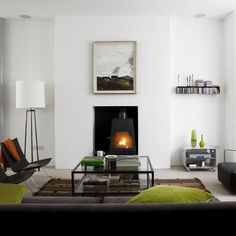 Living Room Ideas Log Burners images of rooms with modern wood stoves |  on black leather