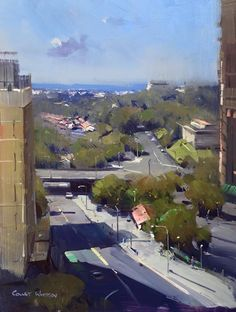 """Colley Whisson · Overlooking Roma Street Station, Brisbane 12""""x 9"""" Oil"""