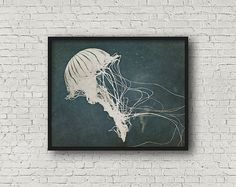 Nautical decor marine life art – Printable black and white jellyfish art print.  With this Jellyfish wall art print you will receive downloadable files (no physical item will be shipped):  • Jpg file for 8 x 10 inch (4:5 ratio) image with border and trim guide (thin gray line on outside of image).  • Jpg file for and A4 international paper size image with a white border.  • Jpg file for 12 x 16 inch (3:4 ratio) size print with a border and trim guides. • Instruction and tip sheet.  • Print…