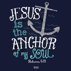 """This Kerusso Christian t-shirt features a glittering silver anchor and the words of scripture from Hebrews """"We have this hope as an anchor for the soul, firm and secure. Bible Verses Quotes, Bible Scriptures, Faith Quotes, Anchor Bible Verses, Printable Scripture, Peace Quotes, The Words, Wallpapers Gospel, Lettering"""