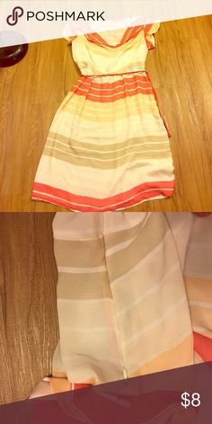 Cute striped dress No rips holes or stains! Has side zipper. The front comes down as a blouse very cute! Comes with belt! Not forever 21 but couldn't find the brand Forever 21 Dresses Maxi