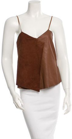 Brown Veda suede and leather sleeveless top. Sheep Leather, Brown Leather, Leather Tops, Petite Size, Camisole Top, Tank Tops, Stylish, Sleeves, Brown Brown