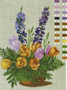 Floral cross-stitch chart