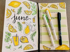 When life hands you mildliners make lemonade???? - happy June! : bulletjournal #volleyball #volleyball