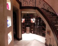 Modern Wine Storage Under Stair Designs: Compact Mediterranean Wine Cellar Idea Covered By Transparent Glass Door And Wall Illuminated By Re. Style At Home, Wine Furniture, Wall Design, House Design, Home Wine Cellars, Country Interior Design, Wine Tasting Room, Wine Storage, Storage Ideas