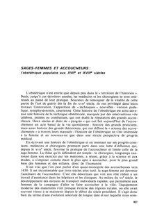 Article scientifique : «Sages-femmes et accoucheurs : l'obstétrique populaire aux XVIIe et XVIIIe siècles  »