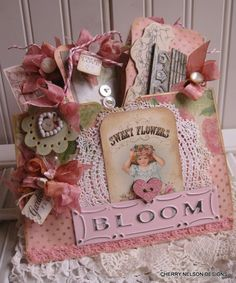 cottage garden pocket- SWEET FLOWERS BLOOM tags and bag-handmade goody bag. $29.50, via Etsy.