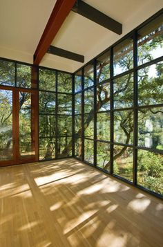 modern home gym by Sutton Suzuki Architects- check out these awesome practice spaces!  http://www.houzz.com/ideabooks/2005337/list/Sink-Into-a-Home-Yoga-Practice-Space
