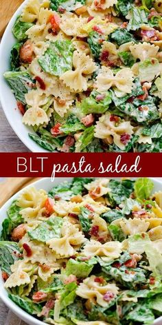 BLT Pasta Salad 2-1/2 cups uncooked bow tie pasta 6 cups torn romaine lettuce 1 medium tomato, diced 4 bacon strips, cooked and crumbled 1/2 cup ranch dressing 1 Tablespoon barbecue sauce 1/4 teaspoon pepper INSTRUCTIONS Cook pasta according to package directions. Drain. Then rinse pasta under cold water. In a large bowl, combine the romaine lettuce, tomato, bacon and pasta. Drizzle the ranch dressing and barbecue sauce over the top. Gently toss to coat evenly. Season with pepper.