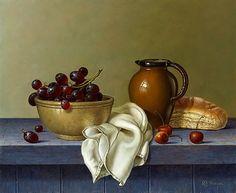 levkonoe | Roy Hodrien. Bread, grape and cherry (oil, canvas)