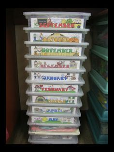 Monthly Storage idea: would love to put experiment and craft supplies together by month so no last-minute gathering needed or missed learning activities b/c of missing supplies! New Classroom, Classroom Setting, Classroom Decor, Classroom Design, Preschool Classroom, Teaching Kindergarten, Teacher Organization, Organized Teacher, Classroom Storage Ideas