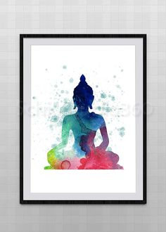 Buddha Watercolor Print Archival Fine Art Print by SchioStudio360
