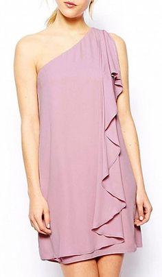 Purple Sleeveless One Shoulder Dress