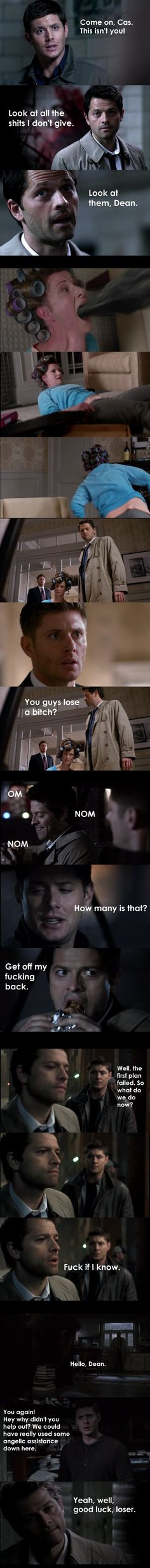 """Well apparently I'm just a mean bitch, because I made another one of Cas telling people off. Sidenote: Cas meeting Sam, he's quoting The Smiths """"The Boy With the Thorn in His Side."""" Why? Why does h..."""