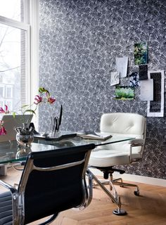 office wallpaper design. Black And White Striped Wallpapers For An Elegant Contrast Office Wallpaper Design