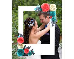 Your event deserves unforgettable photographs, and this fine art photo frame is the way to make that happen. I handcraft this frame with meticulous attention to detail, and I match your vision for the perfect product. This particular listing has 3D hand-made roses in coral, teal and ivory. They are gorgeously surrounded by gray and teal leaves. No matter what color scheme your bride has for her wedding, I can make it happen, and shell have a photo accessory like no one else has had before…
