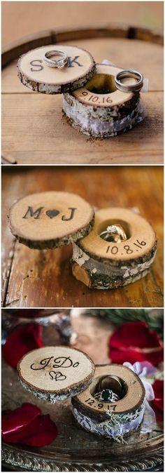 rustic tree stump wedding ring holder ideas / www.deerpearlflow... #rustic #rusticwedding #countrywedding #weddingideas #wedding #dpf #deerpearlflowers #weddingring #weddingrings