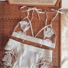 Ready for the long weekend in the Tulip Appliqué Bra and Panty Set  #forloveandlemons #downtoyourSKIVVIES