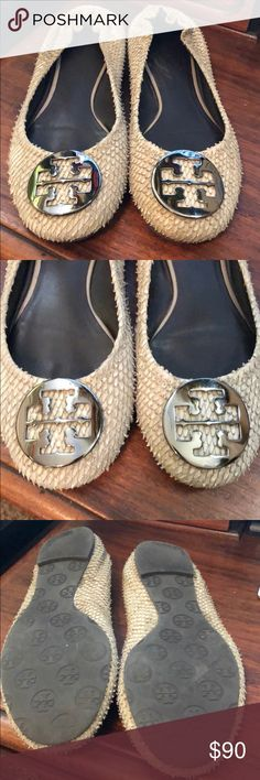 Tory Burch Flats Super cute, near perfect condition just don't wear them anymore. Firm price based on wear of them... they are super cute to dress up or dress down. The color is very neutral so they go with a lot of options! Tory Burch Shoes Flats & Loafers