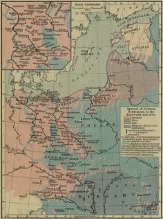 Map of the Spread of German Settlements to the Eastward, 800-1400 (Source: University of Texas at Austin)