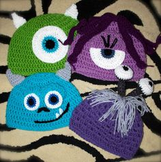Crochet Teen and Adult Monsters inspired hats, Boo, Celia, Mikey, Sulley by MaxineVelasquez on Etsy