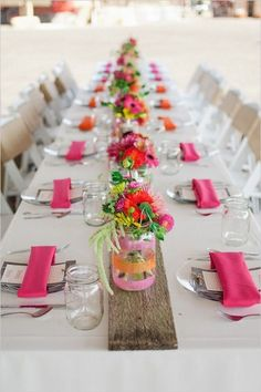 Dress up your table decor with flower filled mason jars.