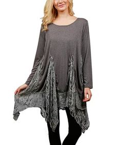 Deep Gray Lace Handkerchief Tunic - Plus Too