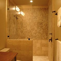 simple glass panel, walk in shower, no door, would build the half wall up a little higher